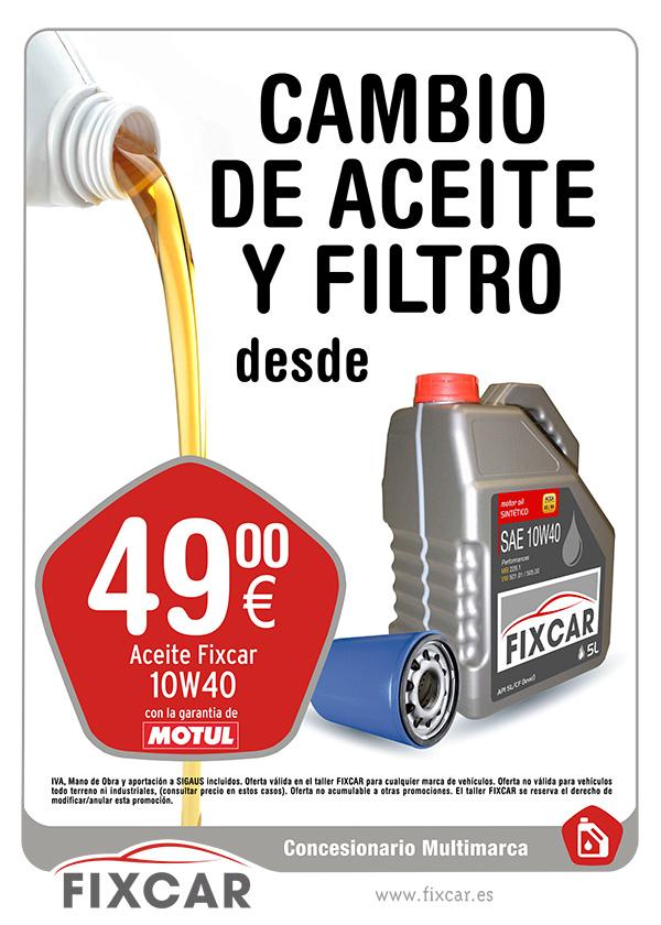 Oferta en cambio de aceite en red de concesionarios multimarca FIXCAR